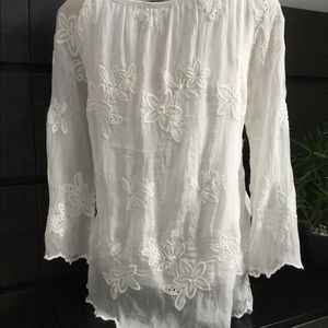 Viola Borghi Tops - Embroidered poets silk blouse